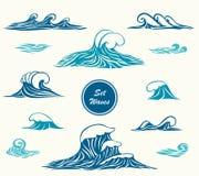 Καθορισμένα κύματα ωκεανών ή θάλασσας στα θαλάσσια μπλε χρώματα διανυσματική απεικόνιση