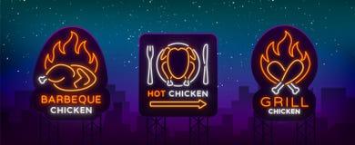 Καθορισμένα λογότυπο, σημάδια, κοτόπουλο εμβλημάτων στο ύφος νέου για ένα μανάβικο και εστιατόρια Σημάδι νέου, νύχτα φωτεινή ελεύθερη απεικόνιση δικαιώματος