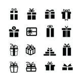 Καθορισμένα μαύρα εικονίδια κιβωτίων δώρων Στοκ Εικόνες