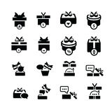 Καθορισμένα μαύρα εικονίδια συζήτησης δώρων και φυσαλίδων Στοκ Φωτογραφίες