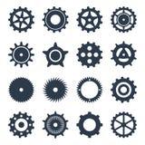Καθορισμένα μαύρα μηχανικά εργαλεία εικονιδίων Στοκ Φωτογραφία