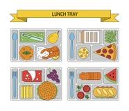 Καθορισμένα μεσημεριανά γεύματα στο ύφος γραμμών Στοκ εικόνες με δικαίωμα ελεύθερης χρήσης