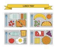 Καθορισμένα μεσημεριανά γεύματα στο ύφος γραμμών Στοκ Εικόνες