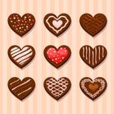 Καθορισμένα μπισκότα σοκολάτας καρδιών Στοκ εικόνες με δικαίωμα ελεύθερης χρήσης