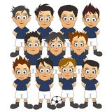 Καθορισμένα μπλε κινούμενα σχέδια ομάδων ποδοσφαίρου Στοκ εικόνα με δικαίωμα ελεύθερης χρήσης