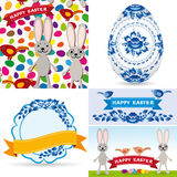 Καθορισμένα παραδοσιακά αυγά Πάσχας, gzhel λουλούδια, πουλιά, κουνέλια, άνευ ραφής σχέδιο, ετικέττες, κορδέλλες Στοκ Φωτογραφίες