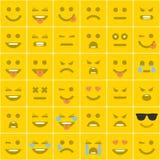 Καθορισμένα πορτοκαλιά τετραγωνικά smileys Στοκ Εικόνες