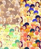 Καθορισμένα πρόσωπα των γυναικών, κορίτσια έξυπνα άνευ ραφής διάνυσμα απεικ Στοκ Εικόνες