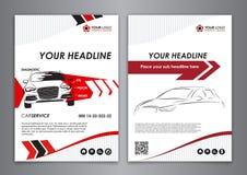A5, A4 καθορισμένα πρότυπα επαγγελματικών καρτών αυτοκινήτων υπηρεσιών Busin επισκευής αυτοκινήτων Στοκ Εικόνες