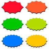 Καθορισμένα πρότυπα λεκτικών φυσαλίδων, διανυσματικό φύσημα promo λεκτικών μπαλονιών εικονιδίων μορφής starburst, για το φύσημα p ελεύθερη απεικόνιση δικαιώματος