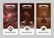 Καθορισμένα ρεαλιστικά διανυσματικά κάθετα εμβλήματα σοκολάτας Στοκ φωτογραφία με δικαίωμα ελεύθερης χρήσης