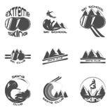 Καθορισμένα στοιχεία προτύπων σχεδίου λογότυπων σκι Στοκ εικόνα με δικαίωμα ελεύθερης χρήσης