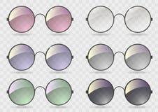 Καθορισμένα στρογγυλά γυαλιά με το διαφορετικό γυαλί Στοκ φωτογραφία με δικαίωμα ελεύθερης χρήσης