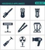 Καθορισμένα σύγχρονα εικονίδια Στεγνωτήρες τρίχας οικιακών συσκευών, κατσαρώνοντας σίδηροι, ηλεκτρικές ξυριστικές μηχανές, μηχανή Στοκ Εικόνα