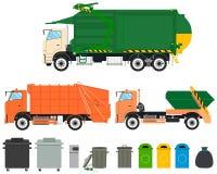 Καθορισμένα φορτηγά απορριμάτων απεικόνιση αποθεμάτων
