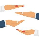 Καθορισμένα χέρια των παλαμών ανδρών και γυναικών απεικόνιση αποθεμάτων