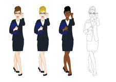 Καθορισμένα χαριτωμένα γυαλιά επιχειρησιακών γυναικών με το έγγραφο σύνολο σωμάτων Στοκ φωτογραφία με δικαίωμα ελεύθερης χρήσης