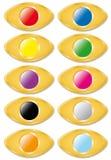 Καθορισμένα χρυσά κουμπιά Στοκ Εικόνα