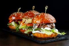 Καθορισμένα burgers με το βόειο κρέας Στο Μαύρο υπόβαθρο-2 Στοκ φωτογραφίες με δικαίωμα ελεύθερης χρήσης