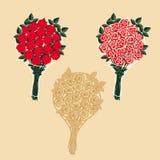 Καθορισμένες ανθοδέσμες των τριαντάφυλλων Στοκ Εικόνες