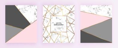 Καθορισμένες αφίσες γεωμετρικών σχεδίων με τη χρυσή γραμμή, το γκρι, τα ρόδινα χρώματα κρητιδογραφιών και το μαρμάρινο υπόβαθρο σ διανυσματική απεικόνιση