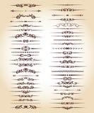 Καθορισμένες διακοσμητικές γραμμές κανόνα στο διαφορετικό σχέδιο Τρύγος διανυσματική απεικόνιση