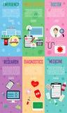 6 καθορισμένες διανυσματικές εικονίδια, σημάδι και σύμβολα στην ιατρική και υγεία με τα στοιχεία έκτακτη ανάγκη, υπομονετική ιστο Στοκ Εικόνες