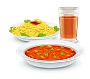 Καθορισμένες επιλογές γεύματος με τα ζυμαρικά σούπας και το ποτό χυμού διανυσματική απεικόνιση