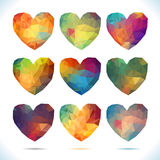 Καθορισμένες διανυσματικές αναδρομικές καρδιές καρδιών που γίνονται από το χρώμα Στοκ Εικόνα