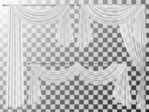 Καθορισμένες διαφανείς κουρτίνες lambrequin pelmet Στοκ φωτογραφία με δικαίωμα ελεύθερης χρήσης