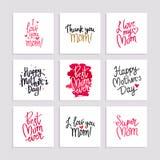 Καθορισμένες κάρτες στην ευτυχή ημέρα μητέρων ` s Στοκ Εικόνα