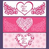 Καθορισμένες κάρτες των καρδιών, λουλούδια, πεταλούδες Στοκ φωτογραφίες με δικαίωμα ελεύθερης χρήσης