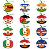 Καθορισμένες κολοκύθες για αποκριές ως σημαίες του κόσμου Στοκ Φωτογραφία