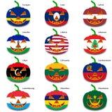 Καθορισμένες κολοκύθες για αποκριές ως σημαίες του κόσμου Στοκ Εικόνες