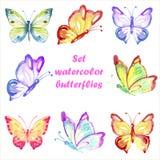 Καθορισμένες πολύχρωμες πεταλούδες watercolor Στοκ Εικόνες