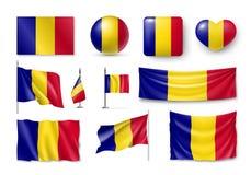 Καθορισμένες σημαίες της Ρουμανίας, εμβλήματα, εμβλήματα, σύμβολα, επίπεδο εικονίδιο ελεύθερη απεικόνιση δικαιώματος