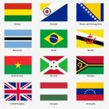 Καθορισμένες σημαίες των παγκόσμιων κυρίαρχων κρατών. Διάνυσμα Στοκ Εικόνες