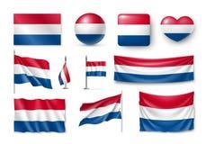 Καθορισμένες σημαίες Netherland, εμβλήματα, εμβλήματα, σύμβολα, επίπεδο εικονίδιο Στοκ Εικόνα