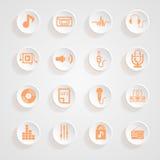 Καθορισμένες σκιές κουμπιών εικονιδίων μουσικής καθορισμένες Στοκ φωτογραφία με δικαίωμα ελεύθερης χρήσης
