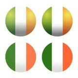 Καθορισμένες στρογγυλές ιρλανδικές σημαίες Στρογγυλές σημαίες της Ιρλανδίας Κουμπί σημαιών της Ιρλανδίας Στοκ Εικόνες