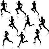 Καθορισμένες τρέχοντας σκιαγραφίες. Διανυσματική απεικόνιση. Στοκ Φωτογραφία