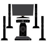 Καθορισμένες ΥΨΗΛΗΣ ΠΙΣΤΌΤΗΤΑΣ οικιακές συσκευές: TV και ακουστικός εξοπλισμός 5 1 σε ένα άσπρο υπόβαθρο, απεικόνιση Στοκ Εικόνες