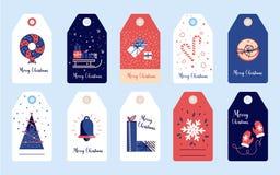 Καθορισμένες χειμερινές αυτοκόλλητες ετικέττες και ετικέττες Χαρούμενα Χριστούγεννας για τα δώρα Στοκ φωτογραφία με δικαίωμα ελεύθερης χρήσης