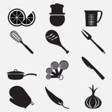 Καθορισμένη απεικόνιση εικονιδίων εργαλείων και τροφίμων Στοκ φωτογραφίες με δικαίωμα ελεύθερης χρήσης