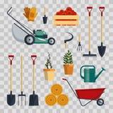 Καθορισμένη απεικόνιση επίπεδος-διανύσματος αγροτικών εργαλείων Συλλογή εικονιδίων οργάνων κήπων στο διαφανές υπόβαθρο Καλλιεργών απεικόνιση αποθεμάτων