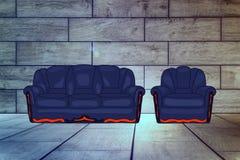 Καθορισμένη απεικόνιση καναπέδων και καρεκλών διανυσματική απεικόνιση
