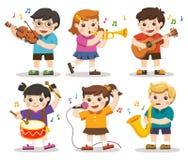 Καθορισμένη απεικόνιση των παιδιών που παίζουν τα μουσικά όργανα απεικόνιση αποθεμάτων