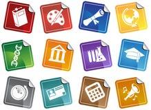 καθορισμένη αυτοκόλλητη ετικέττα εκπαίδευσης κουμπιών Στοκ Φωτογραφίες