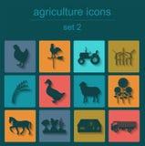 Καθορισμένη γεωργία, εικονίδια κτηνοτροφικής παραγωγής Στοκ φωτογραφία με δικαίωμα ελεύθερης χρήσης