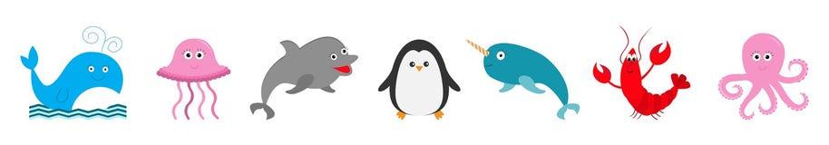 Καθορισμένη γραμμή πανίδας θάλασσας ωκεάνια ζωική Ψάρια, φάλαινα, δελφίνι, αστακός, καβούρι, μέδουσα, penguin, narwhal, χταπόδι Χ ελεύθερη απεικόνιση δικαιώματος